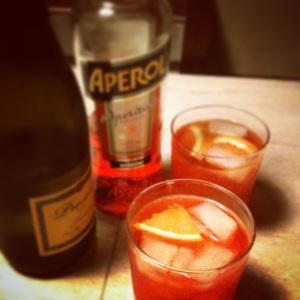 An Aperol Spritz, mixed in Tuscany