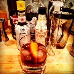 Suburban, made with bourbon, tawny port & dark rum